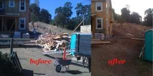 construction debris hauling before and after